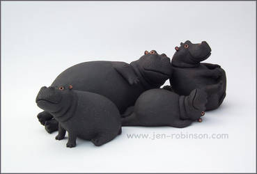Black Stoneware Hippo Family by Hippopottermiss