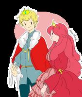 Queen Bubblegum and Finn the King by memmemn