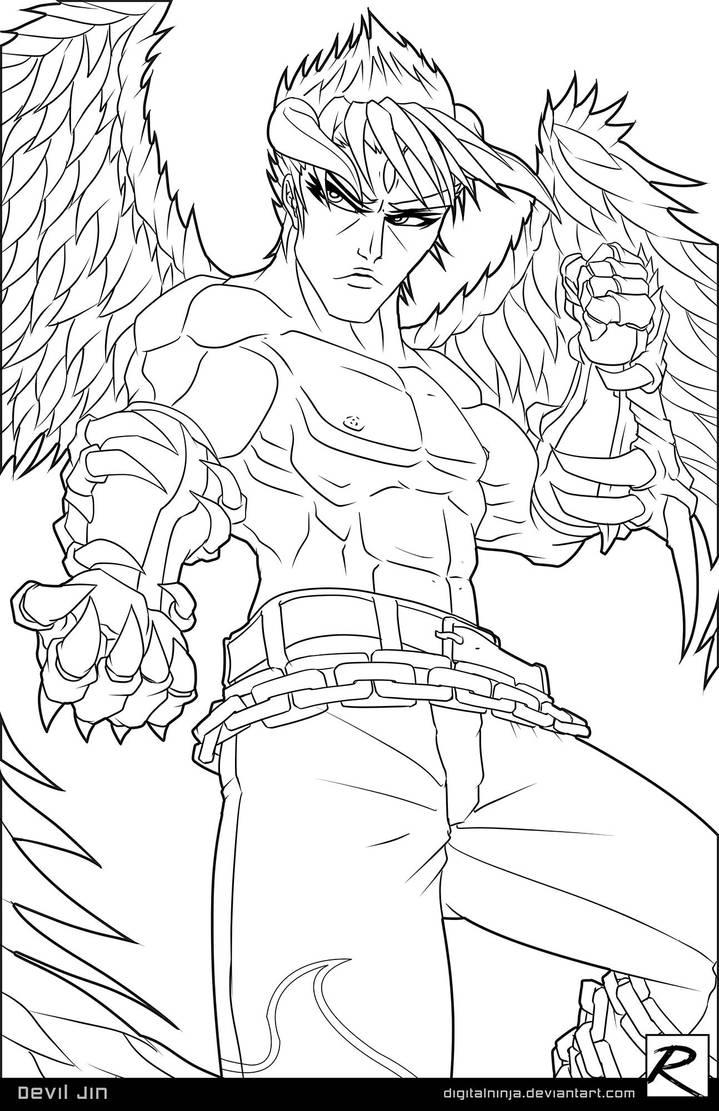 Line Art - Devil Jin by digitalninja