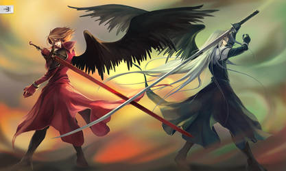 Commission : One Winged Angels by koloromuj