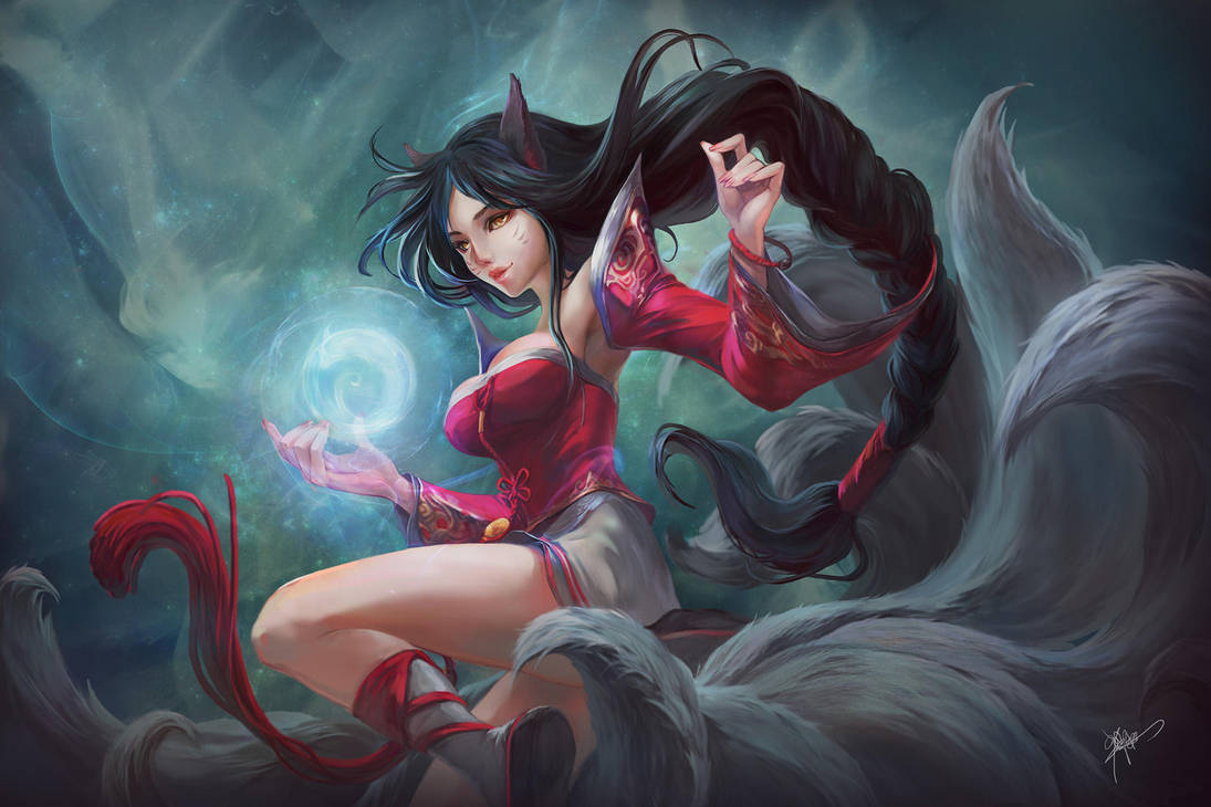 Ahri the sexy fox girl by koloromuj