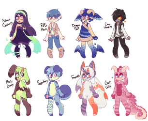(1/8 OPEN) Human/Anthro Adopts -Flatsale- by royalraptors