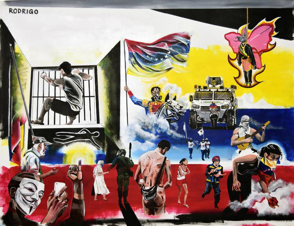 Bravo Pueblo Abril 90x75cm Acrylic Rodrigo Figuere by RodrigoFigueredo