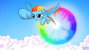 Rainbow Dash Sonic Rainboom 16.9 by mysticalpha