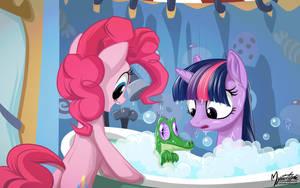 Twilight, Pinkie and Gummy - Bath Time by mysticalpha