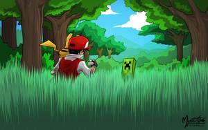 Pokemon Red vs. Creeper by mysticalpha