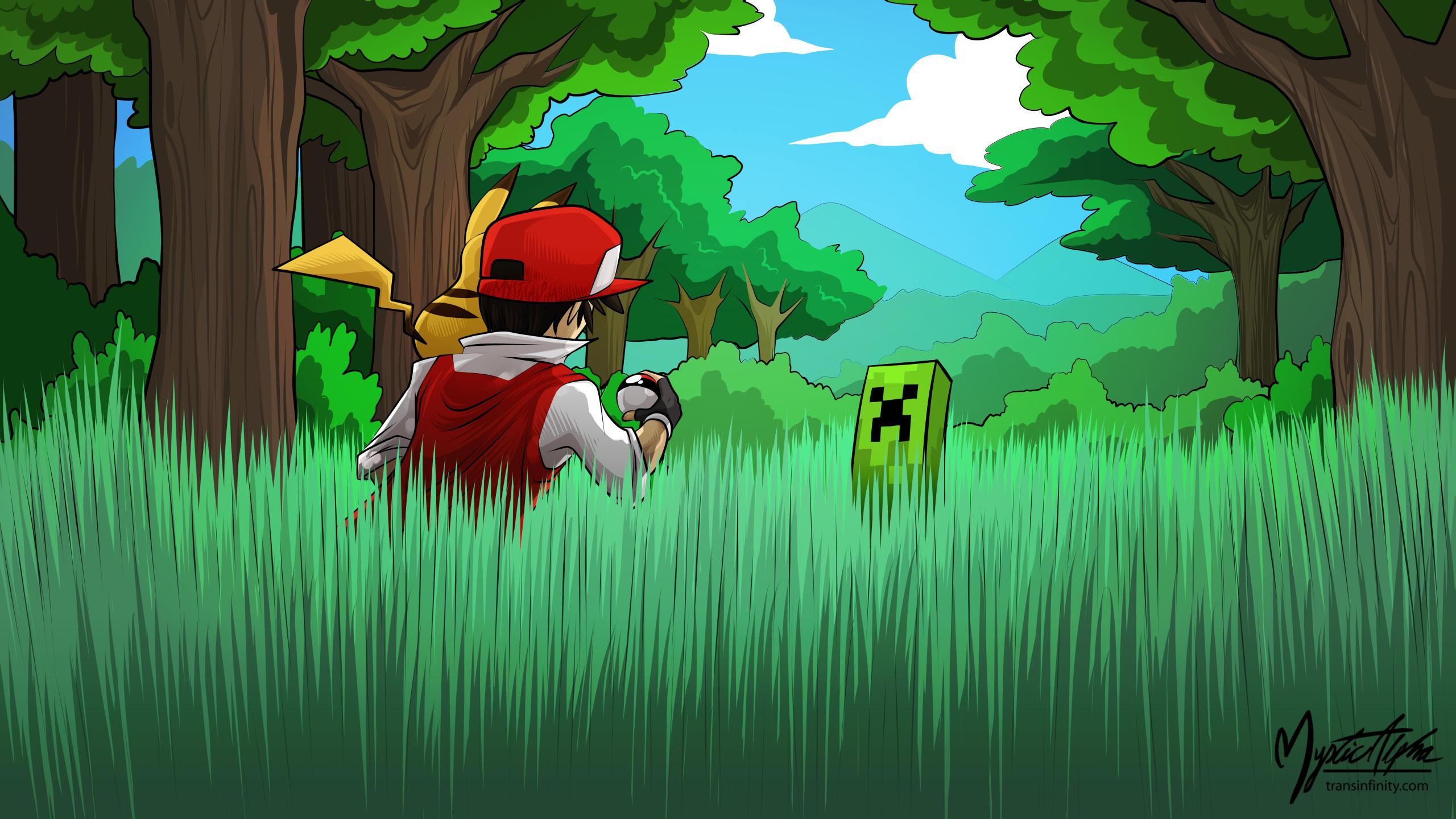 Pokemon Red vs. Creeper 16:9 by mysticalpha