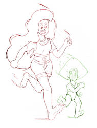 Stevonnie and Peridot sketch by theunknown1
