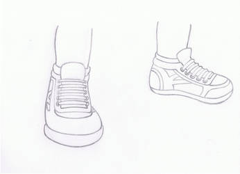 Practice drawing lesson of boy's sneakers by hypermagneto999