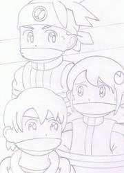 Lan Hikari, Mayl Sakurai, and Tory Froid tied up by hypermagneto999