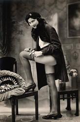 Vintage Garter Girl in Duotone by uqbar1