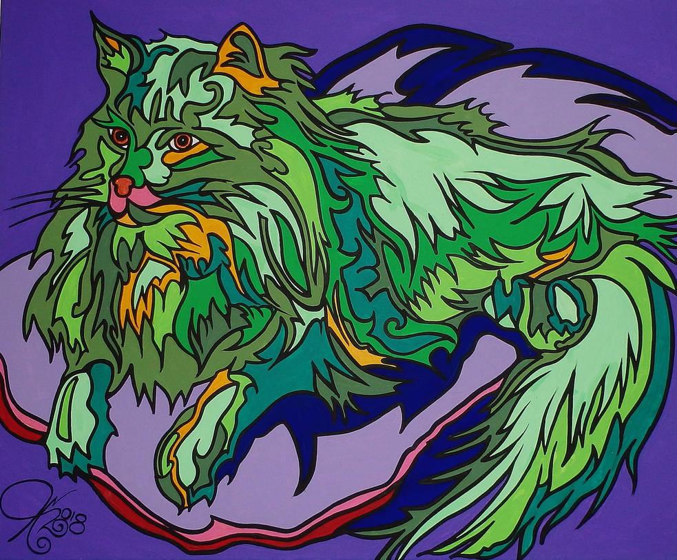 Green Cat by Evilpainter
