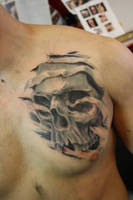 chest skull healed by SimplyTattoo