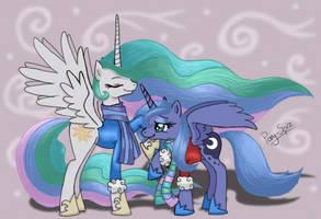 Celestia and Luna Wrap Up by Pony-Spiz