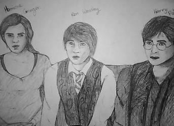 harry, ron, hermione pen by AlyssiaJayde