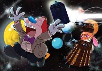Doctor Red and Dalek Stimpy by DylanebennetDA