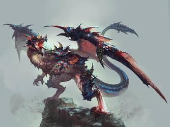 Sketch-Dragon War by antilous