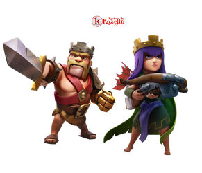 Clash of Clans King and Queen Render by kozejin
