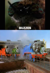 Wormy annoys Gordon the Express Engine by JamestheRedEngine91