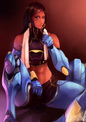 Pharah taking a breather by Mothmandraws