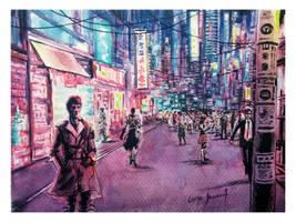 Night Neo Tokyo Neon City watercolor study by luchoinzunza