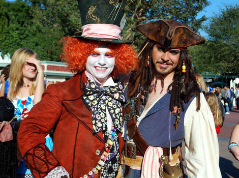 Hatter and Jack Sparrow by Eveningarwen