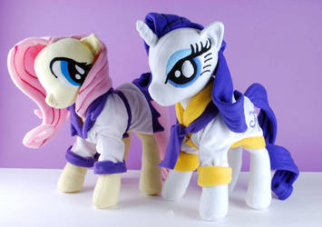 Fluttershy and Rarity Spa Plushies by Eveningarwen