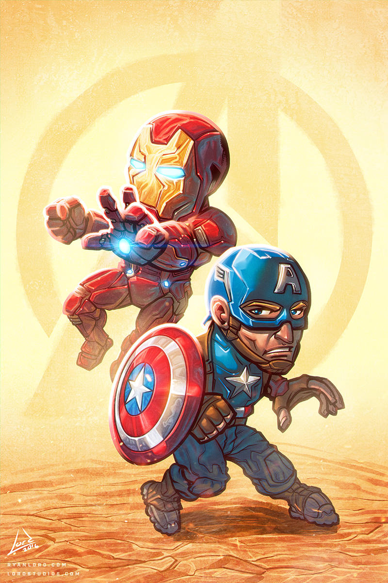 Captain America and Iron Man Chibi Art by RyanLord
