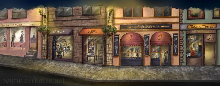Shops facades concept art by Aerhalev