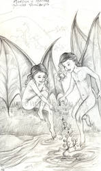 Young Maeliux and Meridae sketch by Aerhalev