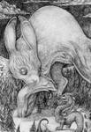 Rabbit vs Dragon by Zinfer