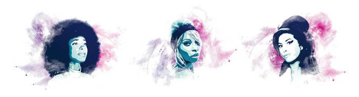Esperanza|Mary J|Amy - Vector triptych by Psycool