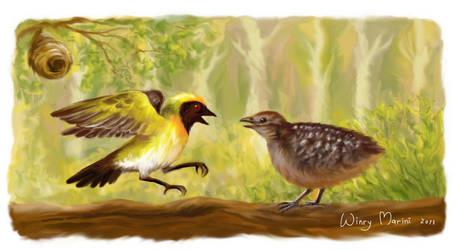 A Quail and a Weaver bird by winrymarini