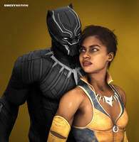 Black Panther and Vixen by Smexynation-Lite
