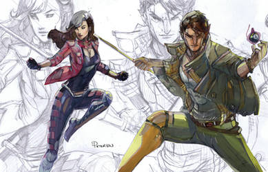 Rogue and Gambit cross dressing party by Peter-v-Nguyen