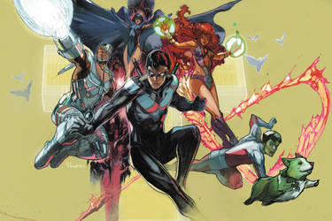 The new teen titans colored by Peter-v-Nguyen