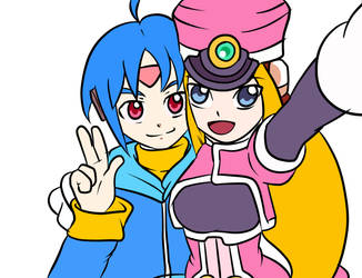 Megaman ZX Advent: Thetis and Praire selfie by EliHedgie95