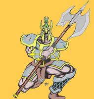 axe welding knight by alexvontolmacsy