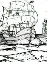 a pirate ship by alexvontolmacsy