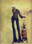 Isaak and puppet by onegreyelephant