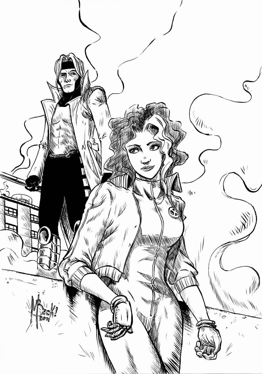 Gambit and Rogue by beckzera