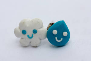 Cloud and Raindrop Earrings by AutumnLeong