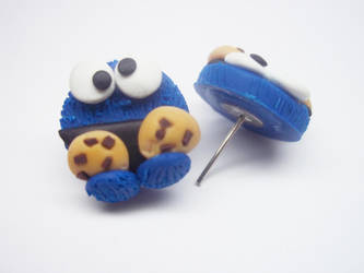 Polymer Clay Cookie Monster Earrings by AutumnLeong
