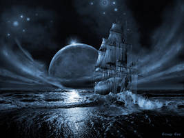 Ghost ship series: Full moon rising by artsgr1e