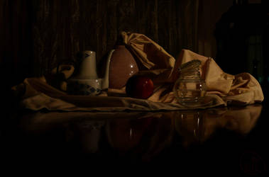 still life with red apple by AnirBrokenear