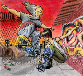 Iroh and Zuko Skateboarding by storm-of-insanity