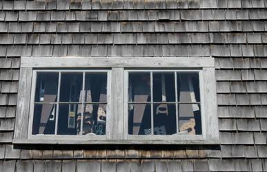 Vinalhaven boatyard barn saw window 2 by JJPoatree