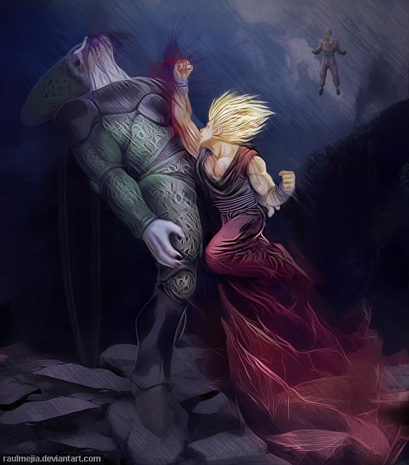 Cell vs Gohan by raulmejia