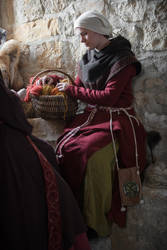 Woman with embroidered bag by Tournevent