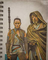 Rey and Luke by mattasticmitchell